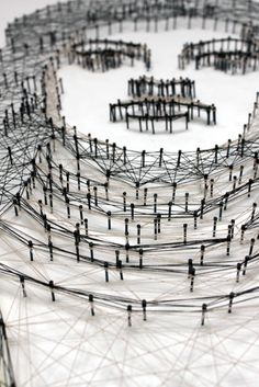 portraits, made out of threads and nails,  by Pamela Campagna