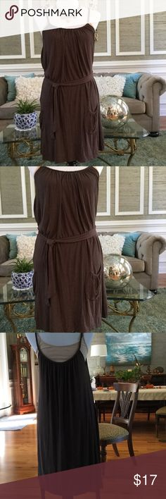 BCBG Brown Boho Sundress Nice brown, has pockets and a tie at waist or you can use own belt. Generously cut, fabric is a cotton blend. So cute with straw hat and wedges. Could also double as beach cover. Please ask questions 😊 BCBG Dresses