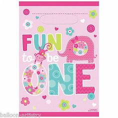 8 wild fun to be one pink #girl's 1st #birthday party #plastic gift treat loot ba,  View more on the LINK: http://www.zeppy.io/product/gb/2/311253523118/