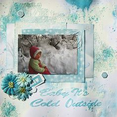 Baby It's Cold Outside mixed media scrapbook layout by @scrappinready