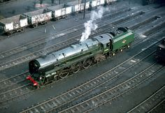 Britannia Pacific 70010 ('Owen Glendower') is seen from the top of the Patricroft coaling tower, circa 1965.
