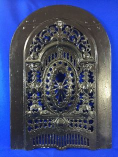 """Vintage Cast Iron Fireplace SUMMER COVER Arched Steampunk 27"""" x 19"""" #Unknown"""