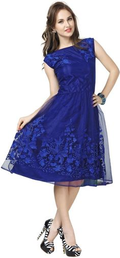 4e100e509cc7 Elevate Women s Blue Net Embroidered A-Line Dress Blue Colour Fabric  - net  Length -Midi Knee Length Round Neck And Sleeveless Wash Care   hand wash  And dry ...
