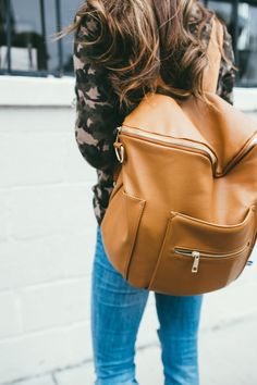 Camel color Backpack perfect for travel or an every day bag