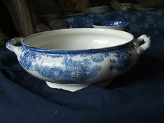 Togo Colonial Pottery Stoke England Blue White China Soup Tureen Base Huge Mint | eBay