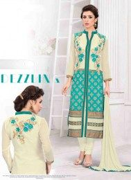 Floral Embroidery Work On This Cream & Aqua Color Beautiful Party Wear Straight Suit