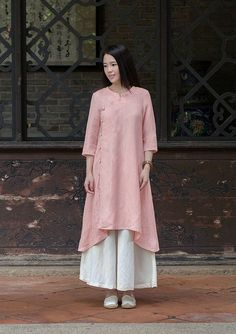 Pink Linen dress Cotton Maxi dress Casual loose Kaftan by Luckywu - blouses, black, satin, chic, boho, yellow blouse *ad
