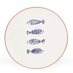 Assiette plate en faïence peint main Décor Sardines - Sardina - Nouveautés - Promos - Alinéa