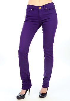 purple or other brightly colored skinny jeans