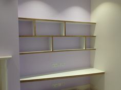 This shelving and desk feature birch multi layer ply as is edging detail, with egger platinum white surface. By Fine Balance Carpentry. Shelves Above Desk, Alcove Shelving, Alcove Cupboards, Built In Cupboards, Shelves In Bedroom, Built In Shelves, Shelving Ideas, Custom Woodworking, Woodworking Projects Plans