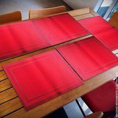 Lugar Americano Vermelho com 06 Peças   Formosinha Decorações