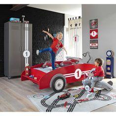 Letto a macchinina rosso in legno per bambini 90 x 190 cm