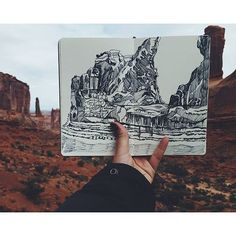 Really awesome #penandink #landscape #drawing of #Arches #NationalPark by @kellycat7. Great job with the #details and #texture of the giant stones Kelly!  #CreativeAirship