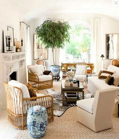 SHELTER: Loving....There are two mirrors and I love the blue and white with the neutrals.