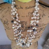 Statement Necklace of  Pearls, Charms, Lampwork Beads & Crystal Multi-strand Crocheted