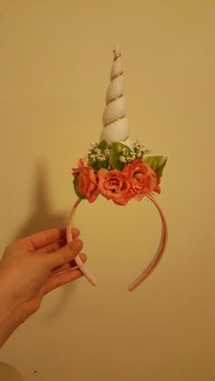 First attempt at a unicorn horn floral headband for my daughter's 5th birthday.. #unicornparty #unicorns