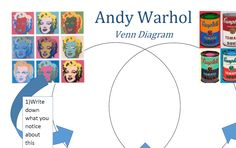 Andy Warhol Venn Diagram Art Analysis. What a brilliant way to analyse art - write about each image and then compare the similarities in the middle. An art lesson that includes literacy AND maths!!! #arted