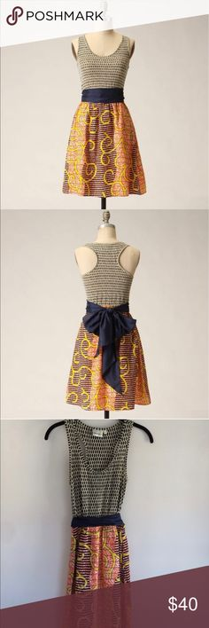 Anthropologie Flight of the need dress by Porridge Anthropologie Flight of the need dress by Porridge. Lined bottom. Great condition. Cute for any occasion Anthropologie Dresses