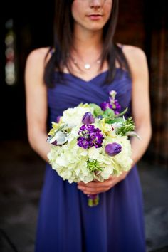 Purple Wedding Ideas - Bridesmaid bouquet and purple dress