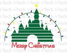 Disney Castle SVG, Merry Christmas SVG, Christmas Castle SVG, Cricut, Silhouette Cut Files svg, Dxf, Instant Download