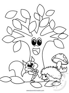 Tree Coloring Page Tree Coloring Page, Fall Coloring Pages, Coloring Sheets, Coloring Books, Autumn Crafts, Autumn Art, Autumn Activities, Activities For Kids, Diy Crafts For Kids