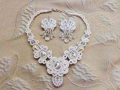 Wedding soutache white set necklace and earrings by mysweetcrochet, $404.00