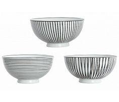 House Doctor - Kom Pen Stripe By Hand - Set van 3 House Doctor, Keramik Design, Kitchenware, Tableware, Color Shapes, Colour, Stores, Ceramic Pottery, Home Deco