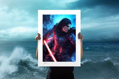 Star Wars The Duel: Kylo Ren Fine Art Print by Richard Luong | Sideshow Fine Art Prints Stormy Sea, Artist Signatures, Star Wars Collection, Sideshow Collectibles, Paper Frames, Heart For Kids, Dark Side, Clear Acrylic, Light In The Dark