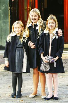 Dutch Royal Christening of Willem Jan van Vollenhoven at Palace het Loo in Apeldoorn, The Netherlands, 9 November 2014.  (L-R) Princess Ariane, Princess Catharina-Amalia, and Princess Alexia of the Netherlands at the christening of Prince Floris' son.