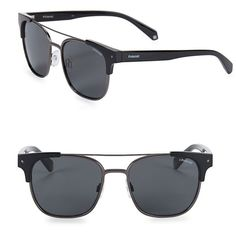 Polaroid Men's Tort 54MM Square Sunglasses ($98) ❤ liked on Polyvore featuring men's fashion, men's accessories, men's eyewear, men's sunglasses, black, mens sunglasses, mens eyewear and mens square sunglasses