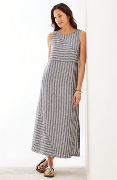 plus size long striped linen dress | J.Jill