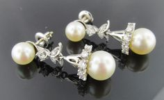 Ferro Jewelers - Estate Jewelry | 14K DIAMOND & PEARL DROP EARRINGS