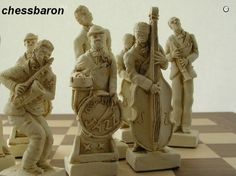 It's not easy for chess sets to impress us. Here, the characters seem to be alive, the bent knees of the sax. Kings Game, Just A Game, Chess Sets, Chess Pieces, The Fresh, Cool Kids, Jazz, Chess Boards, Sculptures
