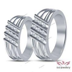 Bride & Groom Wedding Band Ring Round Cut D/VVS1 Diamond 14k White Gold…