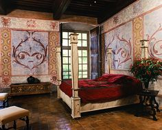 Gaspard Dugué Suite in Château de Bagnols, Bagnols-en-Beaujolais Castle Rooms, Castle Bedroom, Old World Bedroom, Royal Bedroom, Rhone, Awesome Bedrooms, Wall Treatments, France, Madame