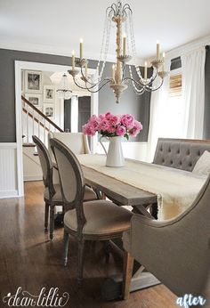 Better After — dining table with cushioned seating, different head chairs, bench