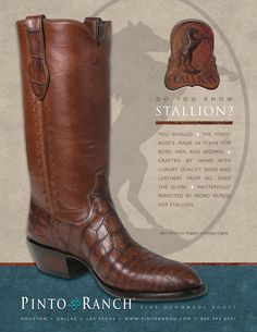 Our September 2014 ad featuring the American Alligator Cowboy Boot by Stallion Boots. Handmade and In-stock.