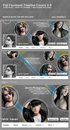 Flat Facebook Timeline Covers V-8  #GraphicRiver         Features   Easy To Edit  High Resolution (851×315)px  100% Layered Adobe Photoshop .PSD files  Easy Customization  Detailed Help Guide Included  2. PSD files included  Photos are not included  Fonts Arial, Arial is system default font, you don't need to install this. If you like my Item, Please rate it & Follow Me. It'll help me a lot. Thanks Check Out Our Other Works Below… Add Ons:              Facebook Timeline Covers…