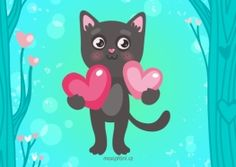 Valentines card with cat Heart Art, Make Me Smile, Vector Free, Pikachu, Minnie Mouse, Disney Characters, Fictional Characters, Cute Animals, Valentines