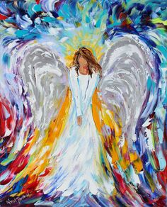Original oil ANGEL PALETTE KNiFE painting modern by Karensfineart