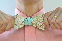 Men's Bow Tie in World Map - free style self tie bowtie groomsmen wedding ties travel world maps blue on Etsy, $36.00