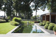 Strakke zwemvijver vormt mooi geheel met buxus- en graspartijen ‹ De Mooiste Zwembaden