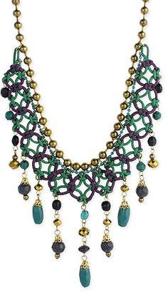 Green & Purple Lace Dangle Cord Necklace