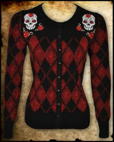 Rockabilly argyle and sugar skulls cardigan