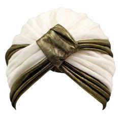 White & Gold Velvet Luxurious Turban Hat Head Cover Sun Cap Luxury Divas. $19.99