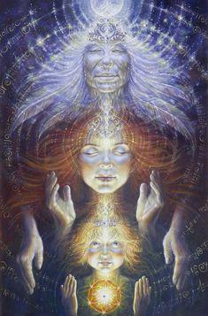 Visionary Art By: Autumn Skye Morrison ~ Wisdom of the Ages// Maiden, Mother, Crone Art Visionnaire, Psy Art, Sacred Feminine, Goddess Art, Visionary Art, Psychedelic Art, Fine Art Paper, Fantasy Art, Wisdom