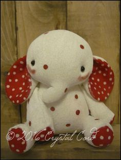 Whimsical white Polka dot Elephant doll circus by WhimsyByCrystal