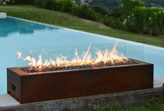 #Galio Corten #Outdoor Gas Fireplace by #Planika Fires - #summerparty #modernthings