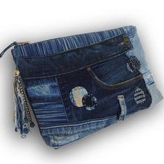 Recycling von alten Jeans & Hand-gefärbt Indigo Kupplung