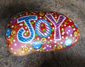 Jez4U Custom Hand painted JOY Small Garden Rock for Special Order